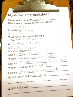 Gift Worksheet